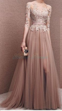 A-Line Prom Dress,Backless Evening Party Dress,A-line Long Sleeves