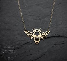 Bee necklace origami gold bee necklace geometric bee