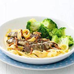 Recept - Tagliatelle met biefstukreepjes en broccoli - Allerhande
