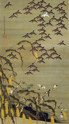 Japanese art Birds art prints Autumn millet and sparrows Ito Japanese Artwork, Japanese Prints, Japanese Bird, Art Chinois, Japan Painting, Art Asiatique, Art Japonais, Japan Art, Woodblock Print