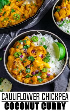 This Cauliflower and Chickpea Coconut Curry is pure comfort in every bite! The mouth-watering sauce is made with tomatoes garlic onions ginger serrano peppers curry powder and coconut milk. It's a little spicy and zesty with a hint of sweetness! Chickpea Recipes, Veggie Recipes, Indian Food Recipes, Cooking Recipes, Healthy Recipes, Instapot Vegan Recipes, Indian Vegetarian Recipes, Vegetarian Cauliflower Recipes, Scd Recipes