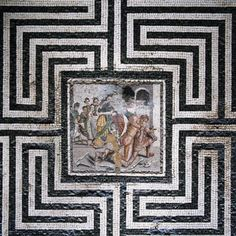 Theseus and the Minotaur. Mosaic in the House of the Labyrinth. Pompeii