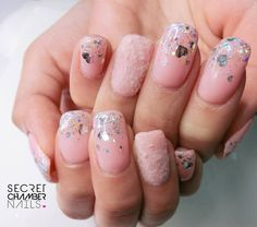 Furry Pink welcoming Sakura season  Gel extension for some nails using Japanese gel #pink #fur #extension #glitter #hearts #Sakura #sgnails