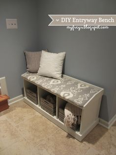 DIY Entryway Bench - Storage Bench - love the crates too!
