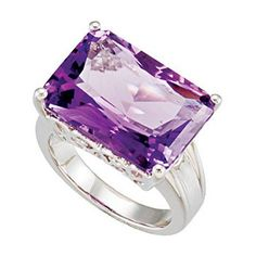 Showcase your dazzling style with this genuine amethyst ring. This womens solitaire cocktail ring is finely crafted from fine sterling silver. It features a flawlessly fashioned emerald shaped violet amethyst stone, 4 prong set in the sterling silver setting. With so many incredible features, this genuine amethyst ring will become a treasured accessory.