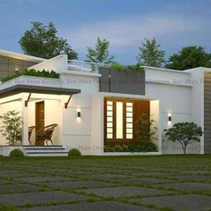 Puppys Simple and Beautiful Kerala Style 3 Bedroom House in 1153 Square Feet with Plan - Free Kerala House Outer Design, Single Floor House Design, Simple House Design, House Front Design, Modern House Design, Flat House Design, Free House Plans, Simple House Plans, House Layout Plans