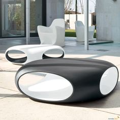 Pebble two-coloured garden coffee table - ARREDACLICK