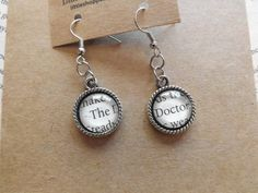 """Doctor Who Earrings """"The Doctor"""" ~ made using Actual Book Pages ~ by LilShopofHodgePodge, $8.25"""