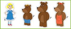 """A collection of """"Goldilocks and the three bears"""" illustrations, ideal to cut out and use as visual aid stick puppets. Preschool Literacy, Classroom Activities, Book Activities, Learning Resources, Traditional Tales, Traditional Stories, Story Sack, Goldilocks And The Three Bears, 3 Bears"""