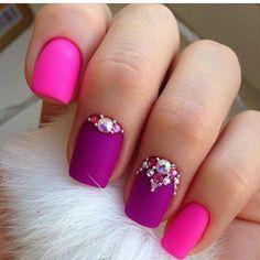 Beautiful nails Bright raspberry nails, Bright summer nails, Bright summer nails ideas, Fashion nails Nails ideas Nails with rhinestones, Nails with rhinestones ideas Nail Art Design Gallery, Best Nail Art Designs, Colorful Nail Designs, Kid Nail Designs, Colorful Nails, Love Nails, Pink Nails, Matte Nails, Stiletto Nails