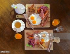 Stock Photo : Directly Above Shot Of Various Food Served On Table
