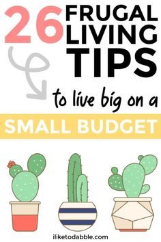 Frugal Living: 26 Tips to Live Big on a Small Budget - Finance tips, saving money, budgeting planner