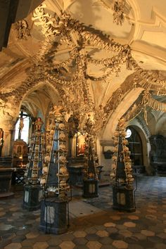 Sedlec Ossuary (a.k.a. The Church of Bones).  in the Czech Republic.  a church decorated with bones of deceased monks once their catacombs began to get too crowded.