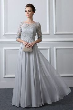 A-Line/Princess Jewel Neck Floor-length Mother of the Bride Dress With Lace
