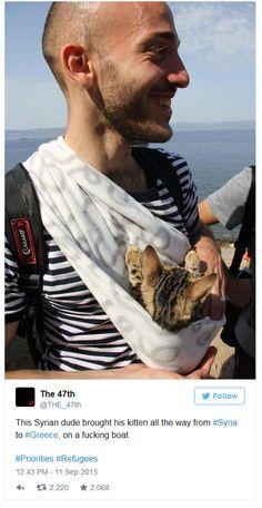 Dieser Syrer schaffte es mit seiner Katze bis nach Griechenland. (Bild: Twitter)