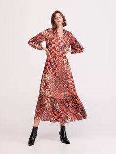 Długa wzorzysta sukienka, RESERVED, XT236-MLC Bohemian, Lady, Dresses, Style, Fashion, Gowns, Moda, Fashion Styles, Boho