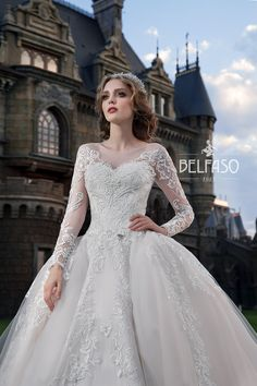 Amazing Embroidered Cinderella Chiffon Wedding Dress / Bridal Ball Gown with Long Sleeves and the Train by Belfaso Stunning Wedding Dresses, New Wedding Dresses, Bridal Dresses, Gowns For Girls, Lace Embroidery, Princess Wedding, Bridal Collection, Dress Making, Ball Gowns