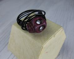 Purple Skull Rhinestone Wire Wrapped Ring by SusanHeleneDesigns, $12.00