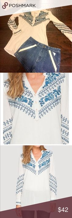 Johnny Was Boho Embroidered Tunic Top White Blue S Such a cute boho top- gauzy ivory cotton with awesome detailing!!  From Johnny Was site:  The 3J Workshop Randal Formal Tunic is one-of-a-kind. With an intricate heirloom embroidery design inspired by Dutch Folk Art adorning soft pinstriped cotton, this embroidered tunic pairs perfectly w/skinny jeans & wedge sandals for a bohemian date-night look.  -Cotton -True to Size -Signature Embroidery -Model wearing size Small. Measurements size…