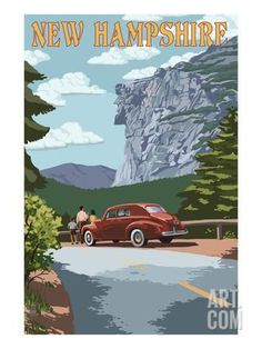 New Hampshire - Old Man of the Mountain and Roadway Art Print by Lantern Press at Art.com