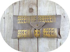 Tribal Print Leather Clutch Gold and Tan by 14xbags on Etsy, $85.00