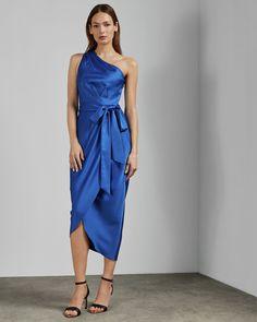 Ted Baker Gabie One Shoulder Drape Midi Dress, Blue Cobalt Blue Dress, Blue Midi Dress, Blue Dresses, Prom Dresses, Midi Dresses, Formal Dresses, Outlet Clothing, Marine Uniform, Ted Baker Dress