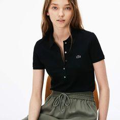 Lacoste Women's Slim Fit Stretch Mini Cotton Piqué Polo Shirt - Black S Polo Shirt Outfit Women's, Black Polo Shirt, Polo Shirt Women, Pique Polo Shirt, Lazy Day Outfits, Casual Fall Outfits, Polo Noir, Lacoste Polo Shirts, Sweat Shirt