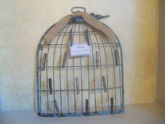 Shabby Chic Birdcage / Wedding Wishes Card Holder / Wedding guest Card Holder / Distressed Birdcage Wall Decor. $60.00, via Etsy.
