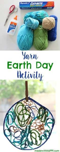 Yarn Earth Day Activity | Yarn Earth | Kids Activities | www.madewithHAPPY.com