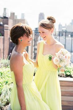 Yellow bridesmaids' dresses from Donna Morgan.