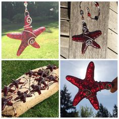 Starfish. Sun Catchers, Center Pieces, Red Glass, Wire Wrapped with removable beaded line by NWcreative1 on Etsy https://www.etsy.com/listing/230509459/starfish-sun-catchers-center-pieces-red