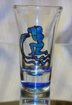 Zodiac Sign of Aquarius Hand Painted Shot    $8.50