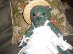 OOAk handmade jointed teddy bear with white apron and by EMTWTT, $29.99