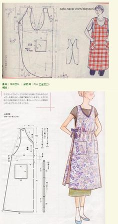Sewing vintage tuto couture New Ideas Vintage Apron Pattern, Aprons Vintage, Vintage Sewing Patterns, Clothing Patterns, Vintage Dresses, Japanese Apron, Sewing Courses, Sewing Aprons, Apron Designs
