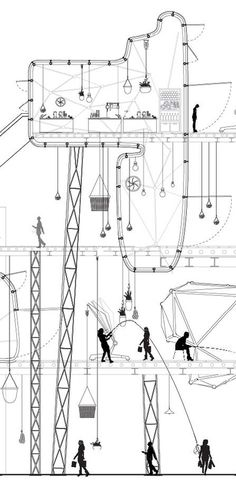 Ctrl+Space - Architectural Competition - Istanbul Community Market Competition / A hanging Marketplace by S.Lengen and H Cheung Architecture Graphics, Architecture Student, Architecture Drawings, Architecture Details, Contemporary Architecture, Interior Architecture, Structural Drawing, Technical Drawing, Orthographic Drawing