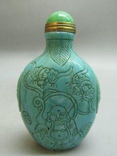 Chinese Peking Glass Carved Buddha Bat Pattern Snuff Bottle