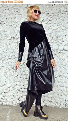 YELLOW SALE 25% OFF Extravagant Black Dress / Black Velvet Dress with Padded Insets and Shinny Slicker Lap / Street Style Extravagant Dress