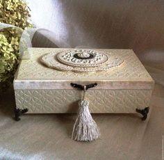 """Купить Шкатулка """"White Queen"""" - бежевый, сливочный, шкатулка, шкатулка для украшений, истрицкая, подарок любимой"""