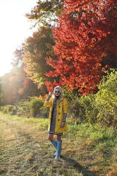 yellow for fall //    Dress (on repeat, last seen here). Toggle Coat: Land's End (also love this one, this one and this one). Boots: Hunter. Scarf: White and Warren (obsessed with this stripe scarf and bought this one). Ha   http://atlantic-pacific.blogspot.com/2016/10/yellow-for-fall.html