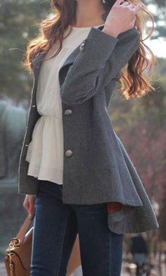 Dovetail Grey Coat. Unique and slim blazer with hi-lo peplum hem and lapel detailing. #womensfashion