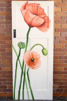 Acrylic painted Poppies on antique door by Artist - Dana Jensen. Painted on antique / vintage door painted in shabby chic style by I Restore Stuff. Available for Sale - Brisbane Australia. Deco Cool, Closet Door Makeover, Tall Flowers, Door Murals, Old Doors, Front Doors, Salvaged Doors, Painted Doors, Painted Bedroom Doors