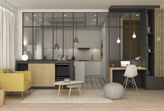 Online shopping from a great selection at Home Store. Minimalist Interior, Minimalist Design, Lofts, Living Room Partition, Interior Architecture, Interior Design, Style Deco, Scandinavian Kitchen, Apartment Interior