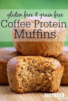 Recipe: Healthy Coffee Protein Muffins - - These Coffee Protein Muffins pack a protein punch with around protein per muffin and only 125 calories. They are also gluten free, grain free, refined sugar free, low carb, low fat and can even be paleo! Protein Dinner, Protein Breakfast, Keto Breakfast Muffins, Banana Breakfast, Healthy Desserts, Healthy Recipes, Healthy Breakfasts, Paleo Muffin Recipes, Pb2 Recipes