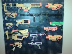 nerf gun rack...we had to control the chaos somehow!