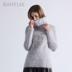 44c2f5da1 Online Shop BAHTLEE 2018 Autumn winter women's angora rabbit turtleneck  pullovers knitting sweater short style fashion