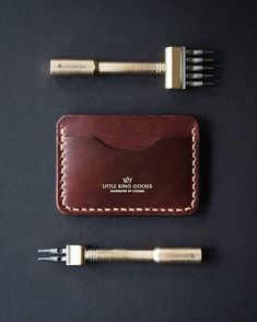 Kickin' it old school with our chunky stitching. Leather Holster, Leather Cuffs, Leather Wallet, Leather Working Patterns, Leather Working Tools, Leather Diy Crafts, Leather Projects, Gents Wallet, Kickin It Old School