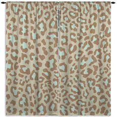 Tan & Mint Curtain, Cheetah Print Window Curtain, Turquoise,  Kids, Brown Curtain Panel, Bathroom Curtain, Custom Size, ANY COLOR #114