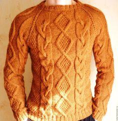 """Для мужчин, ручной работы. Ярмарка Мастеров - ручная работа. Купить """"Добрый свитер"""". Handmade. Коричневый, свитер мужской, одежда"""