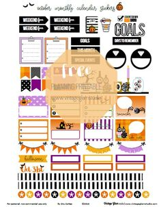 Free Printable October Monthly Planner Stickers from Vintage Glam Studio