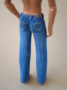 Crochet Pattern for Kate's Jeans Pants Shorts Skirt - Salvabrani Crochet Doll Dress, Crochet Barbie Clothes, Knitted Dolls, Barbie Et Ken, Barbie Doll, Crochet Dolls Free Patterns, Crochet Pattern, Manequin, Knitting Dolls Clothes